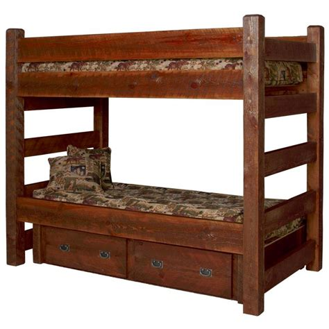 Barnwood Bunk Bed Beds And Headboards Barnwood Bunk Bed W Drawers Bw67