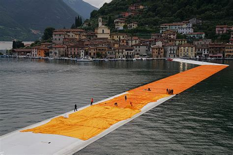 christo floating piers open in lake iseo italy
