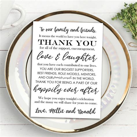thank you cards for wedding dinner plates template printable wedding thank you note place card placemat wedding