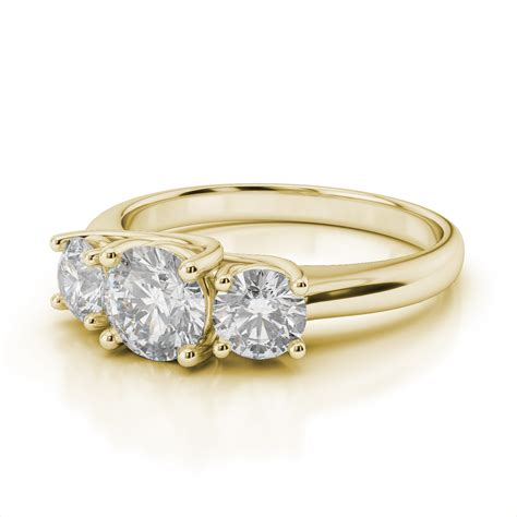 yellow gold three engagement rings wedding