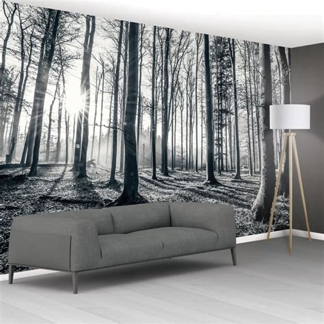 1wall tree wallpaper mural 1wall black and white forest trees mural wallpaper 366cm x 232cm