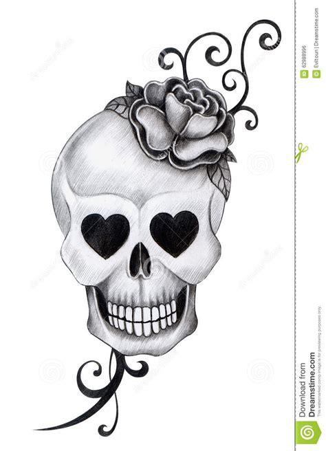 art skull head tattoo stock illustration image 62988996
