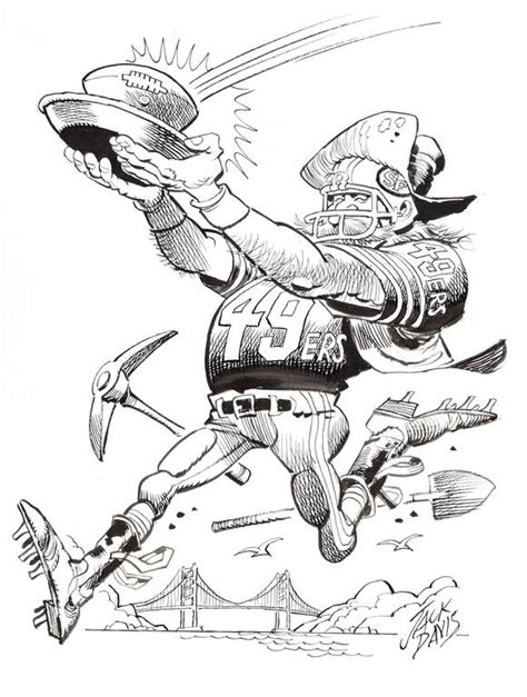 49ers Sketches by Davis San Francisco 49ers Football Illustration For