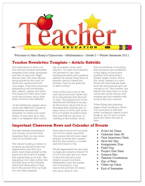 teacher newsletter template for classroom teacher