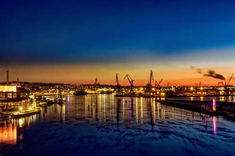 wallpaper ship boat sunset sea city cityscape