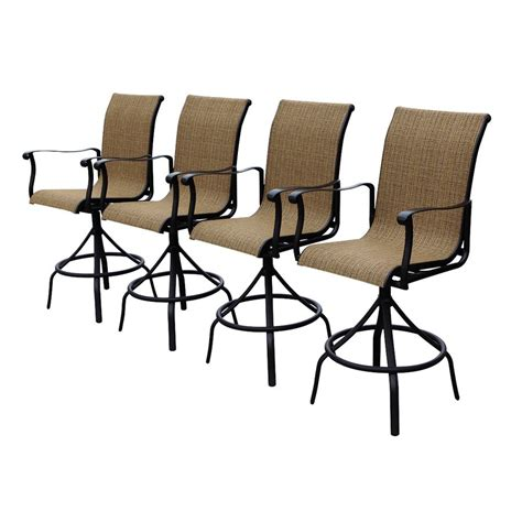 allen and roth patio furniture reviews allen roth safford sling seat swivel bar chairs set of 4 lowe s canada