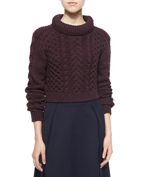 cropped cable knit sweater tibi cropped cable knit pullover sweater in purple