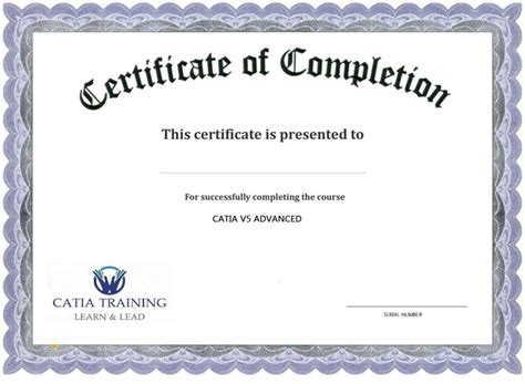 course completion certificate template certificate of completion template template
