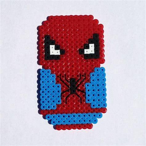 spiderman hama pattern perler bead chibi bean spiderman magnet by lunasrealm