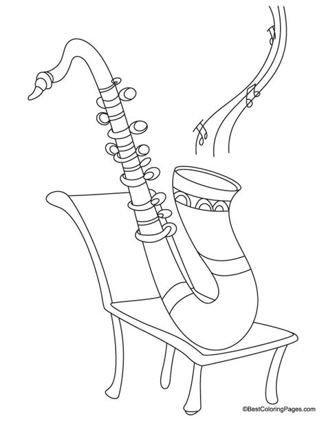 saxophone coloring page sketch coloring page