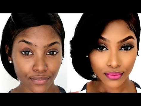tutorial makeup for dark skin how to drugstore contour highlight foundation for black