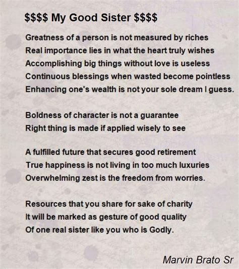 good sister poem  marvin brato sr poem hunter