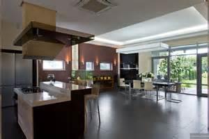 Modern Kitchen Dining Room Design Modern Gas Kitchen Dining With Fish Tank And High Shine Flooring Garden View Interior Design
