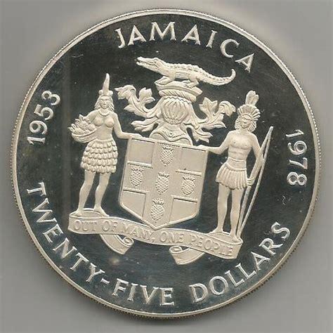 twenty five dollars 25 dollars elizabeth ii silver coronation jamaica