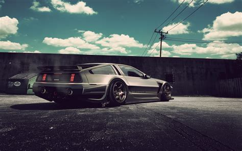 stanced cars iphone wallpaper delorean tuning wallpaper