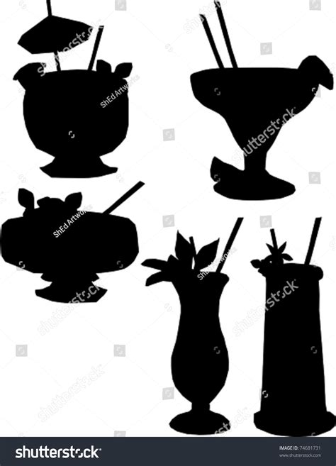tropical cocktail silhouette retro tropical cocktail drinks silhouette set stock vector