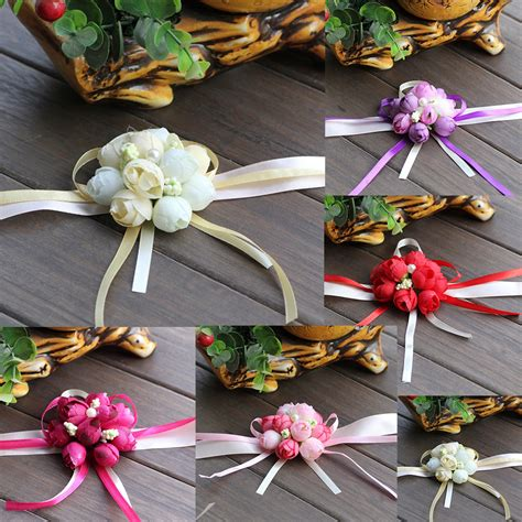 Handmade Wrist Corsage - wedding ornaments silk bridal bridesmaid handmade bouquet