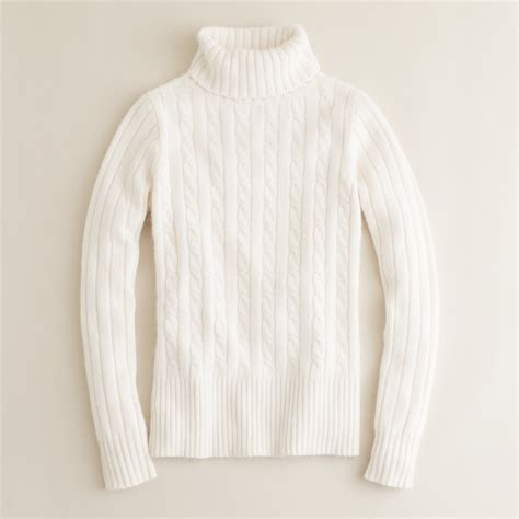 Baju Sweater Import Original White Winter Knit j crew cambridge cable chunky turtleneck sweater in white lyst