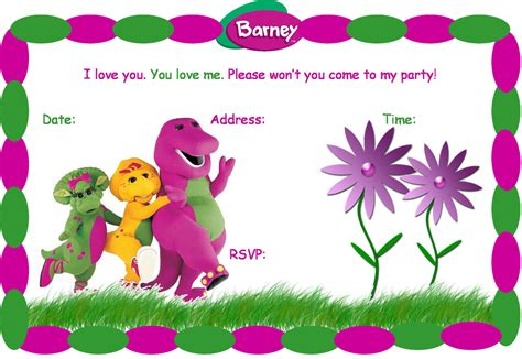 barney birthday invitation card template 40th birthday ideas barney birthday invitation templates