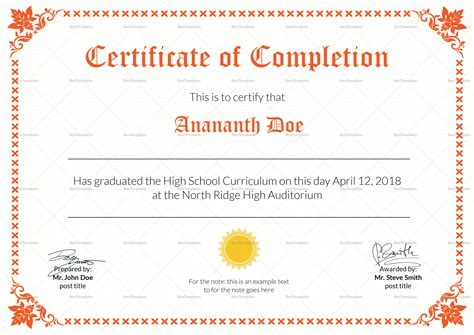 high school diploma certificate design template in psd word