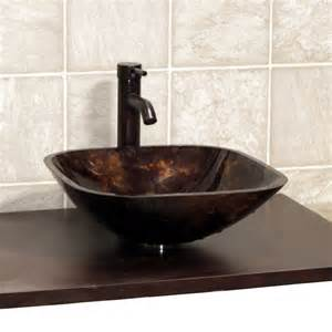 bathroom square glass vessel sink rubbed bronze