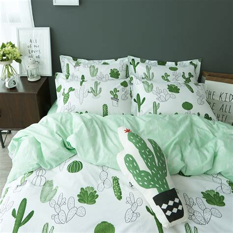 Linen Duvet Set Simple Style Cactus Banana Clouds Bedding Set Cotton 4pcs