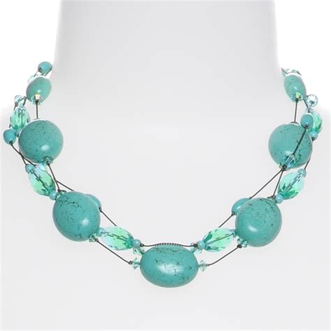 turquoise stone necklace turquoise stone bead statement necklace chunky necklace