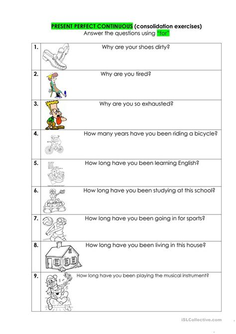 pattern of present perfect progressive present perfect continuous worksheet free esl printable