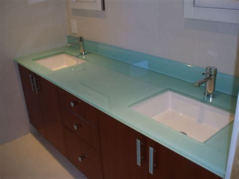 Paint Bathroom Sink Countertop by Back Painted Glass Bathroom Countertop With Two White
