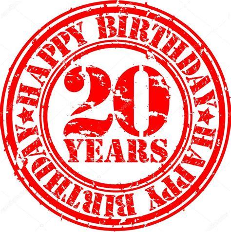 Scrapframe Birthday 20 30 Cm ton grunge joyeux anniversaire 20 ans illustration