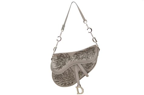 Christian Designer Christian Limited Edition Saddle Bags by Christian Saddle Bag In Grey Silk Limited Edition