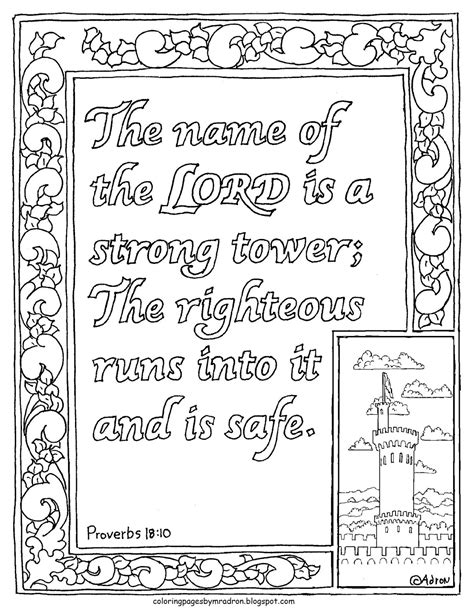 strong sheets coloring pages for kids by mr adron proverbs 18 10