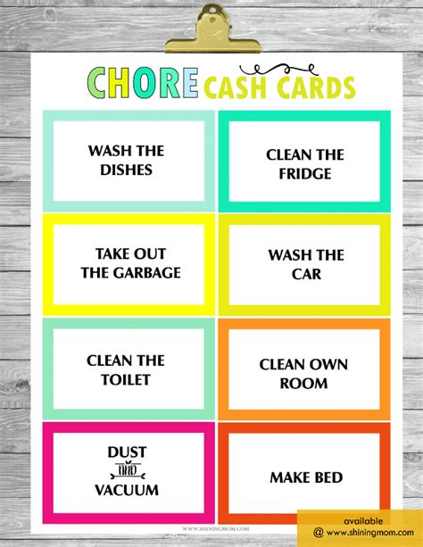 Chore Cards Template by Free Printable Chore Charts That Work