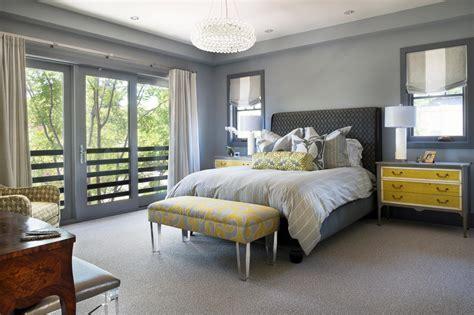gray  yellow master bedroom  upholstered headboard