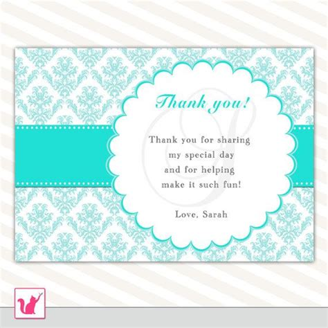 thank you for letter printable personalized turquoise teal damask blank thank 1642
