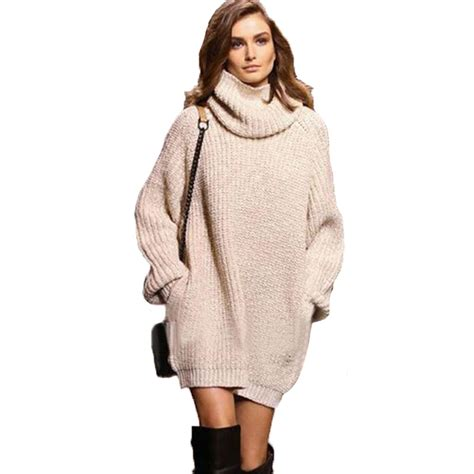 Vogue Sweater Zt7106 1 large size knitted sweaters fashion apricot thick warm pullovers turtleneck pocket