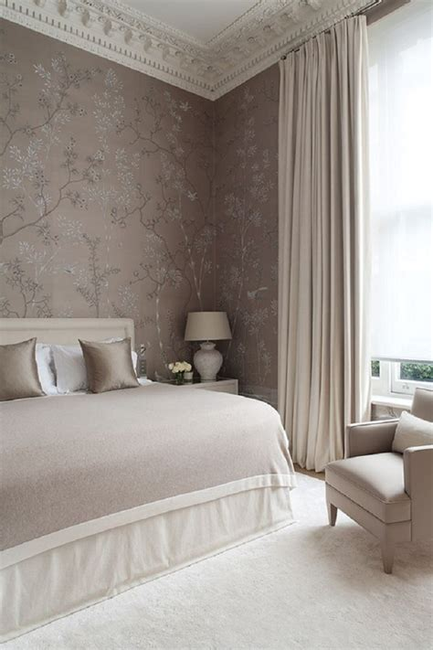 taupe bedroom home dramatic drapery quintessence parisienne