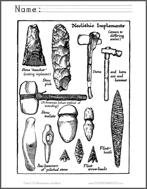 coloring pages early man neolithic tools coloring page