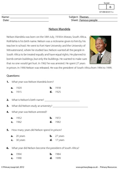 biography year 4 nelson mandela reading comprehension