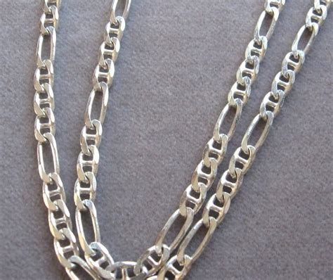 fancy sterling silver figaro chain link necklace italy 925