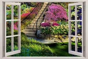 art wall murals garden view 3d window decal wall sticker home decor art