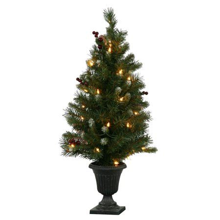 walmart christmas trees potted 3 pre lit medium frosted ashberry pine potted artificial tree clear lights