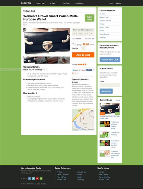 drupal theme omega demo droupon drupal 7 theme for daily deals and coupons website