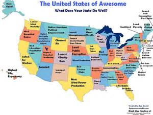 prettiest states what is the most awesome thing about your state check this map mic