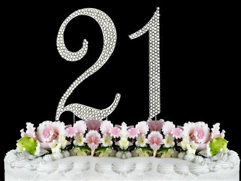 NEW Large Rhinestone NUMBER (21) Cake Topper 21th Birthday