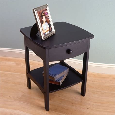 Solid Wood End Tables by Winsome Basics Solid Wood End Table Black Nightstand Ebay