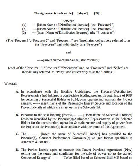 solar power purchase agreement template sle power purchase agreement 7 documents in