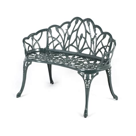 green metal garden bench ellister stamford tulip 2 seater bench dark green on sale