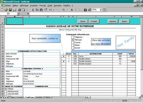 application excel gratuit formulaire commande