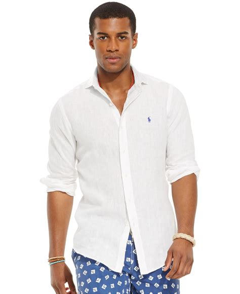 polo ralph linen sport shirt in white for